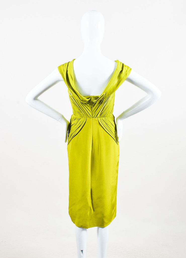 Cushnie Et Ochs Chartreuse Green Strapless Drape Dress Backview