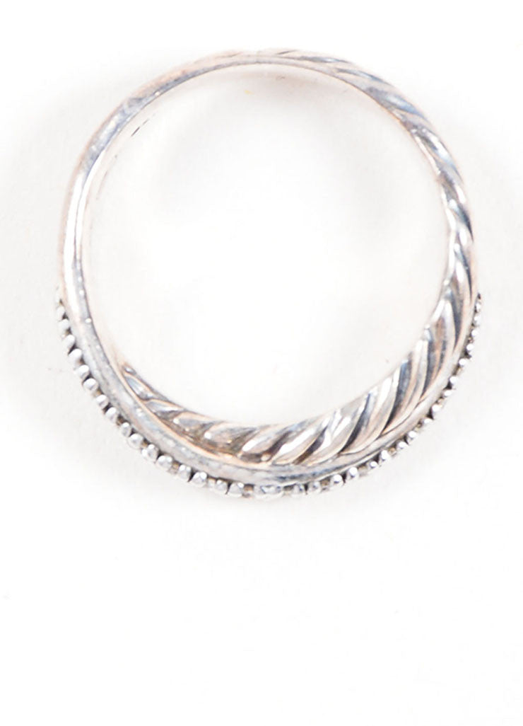 David Yurman Sterling Silver and Pave Diamond Crossover Cable Ring Topview
