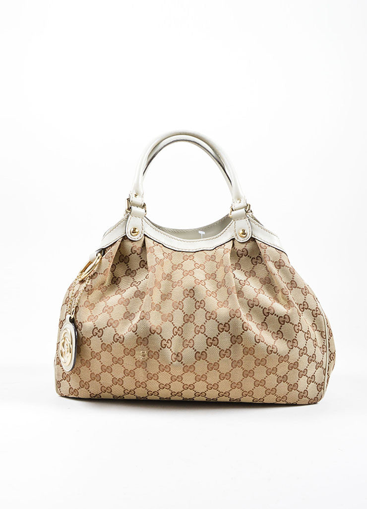 "Gucci Cream and Brown Canvas and Leather ""GG"" Monogram ""Guccissima"" Shoulder Bag Frontview"