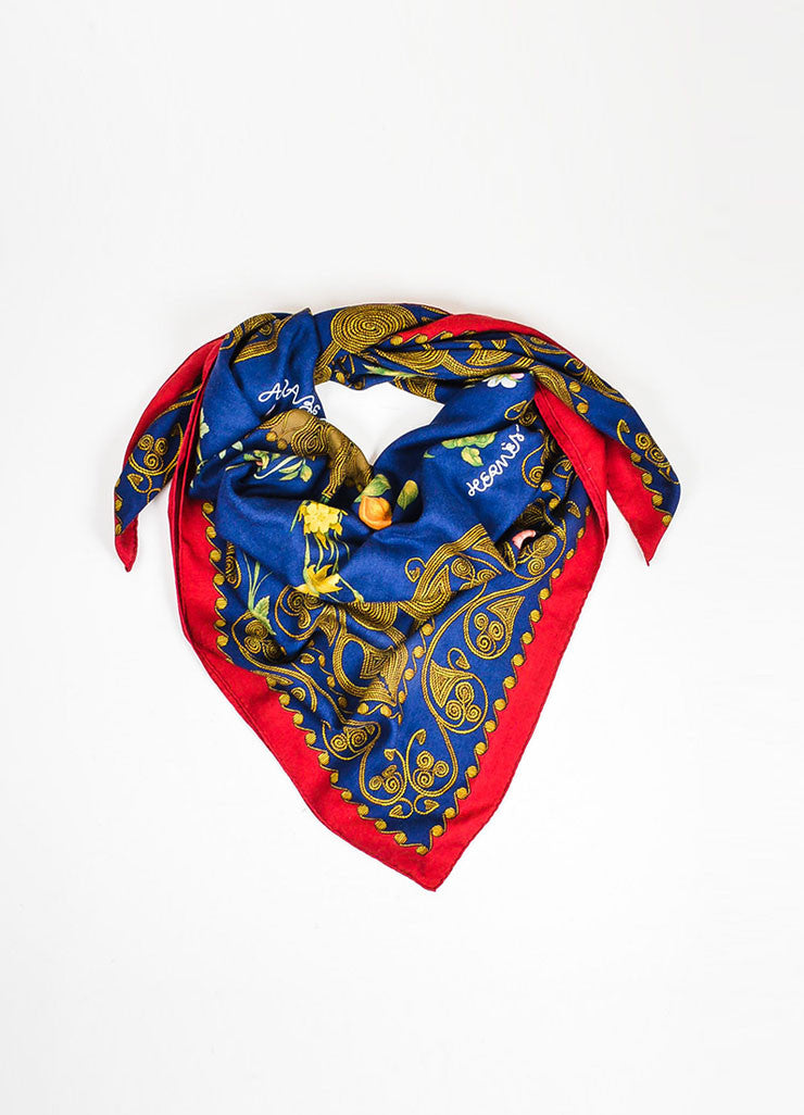 "Navy, Red, and Gold Hermes Cashmere ""Arabesques"" Square Shawl Scarf"