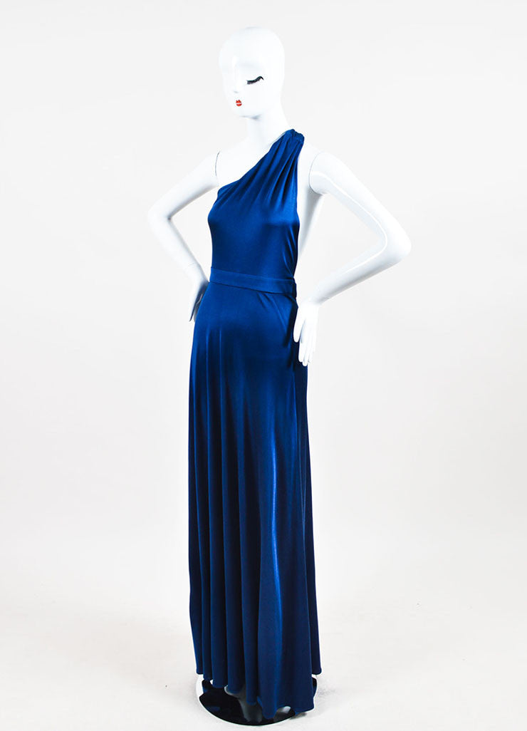 Blue Issa London Silk Jersey One Shoulder Maxi Dress Side