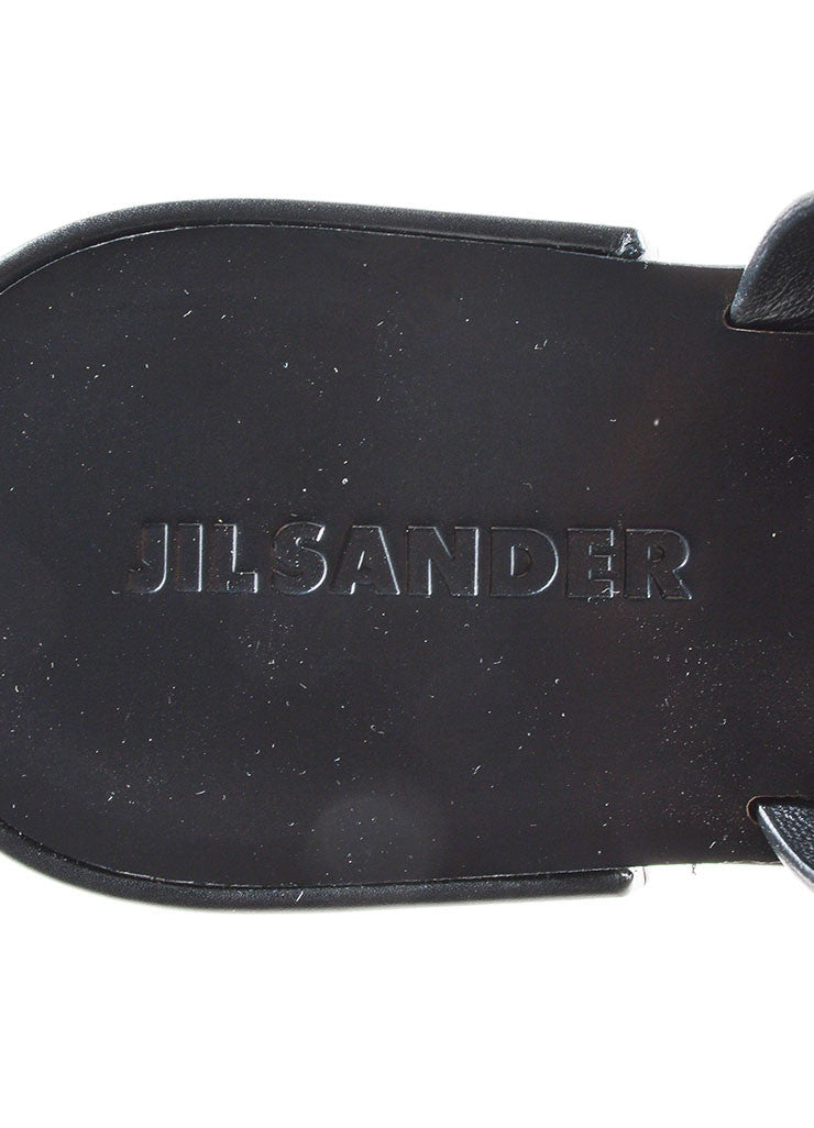 Black Jil Sander Leather Ankle Strap Thong Flat Sandals Brand