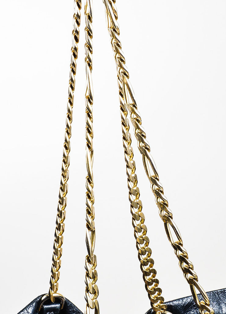 "Black Lanvin Lambskin Leather Chain ""Paper Bag"" Tote Strap"
