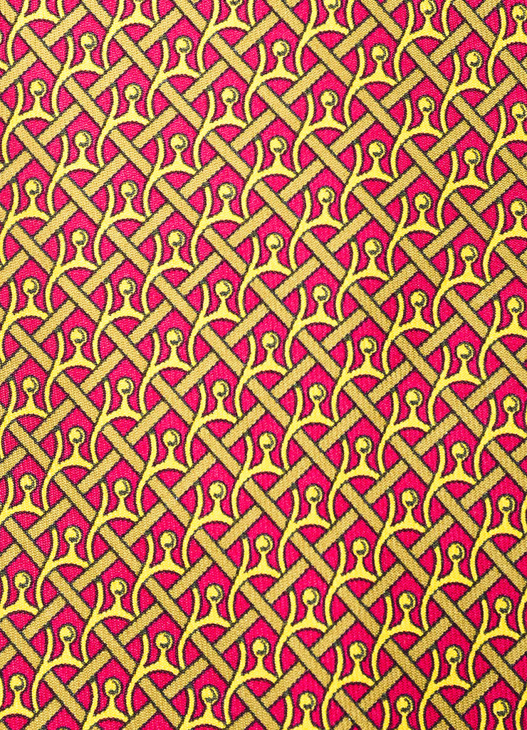 Men's Hermes Burgundy Mustard Yellow Silk Horseshoe Print Necktie Detail