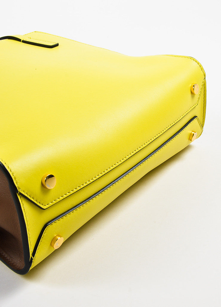 Yellow and Brown Marni Leather Color Block Tote Bag Detail