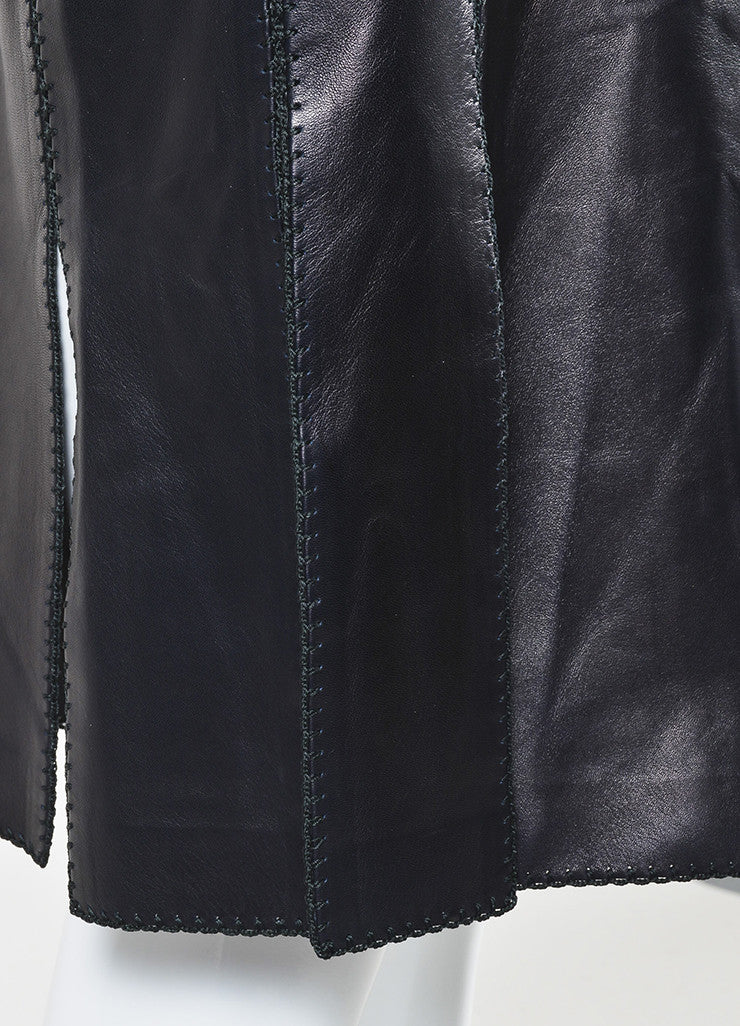 Black Nina Ricci Leather Stitched Pencil Skirt Detail