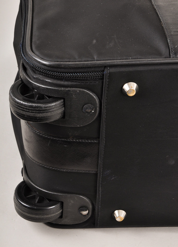 Prada Black Nylon With Leather Trim Buckled Large Rolling Suitcase Detail