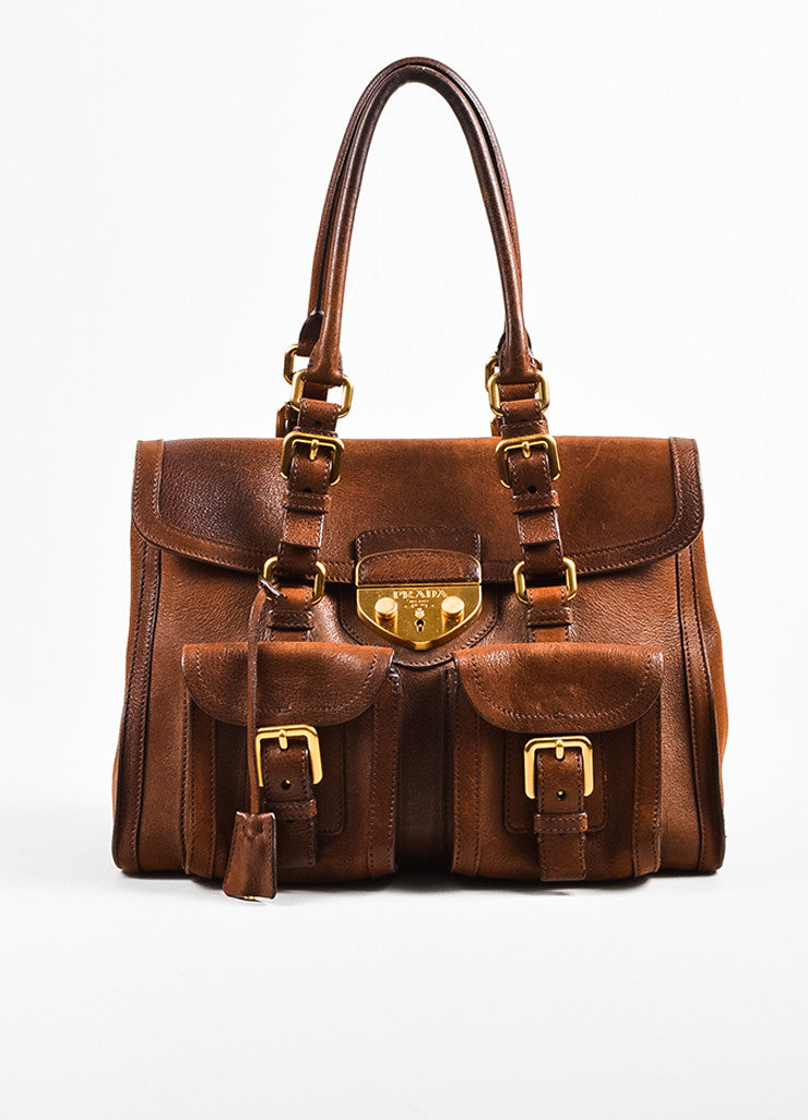 Brown Prada Leather Double Pocket Buckle Top Handle Flap Satchel Bag Front
