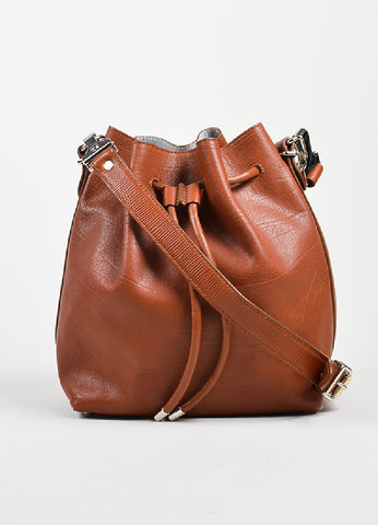 Rust Brown and Grey Proenza Schouler Leather Crossbody Bucket Bag with Pouch Frontview