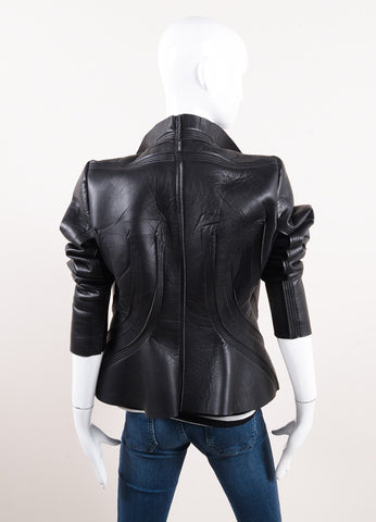 "Rick Owens Black Leather and Neoprene ""Princess"" Jacket Backview"