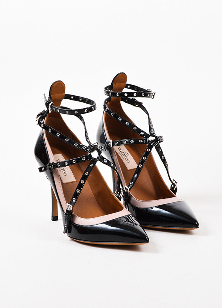 "Black & Nude Patent Leather Caged ""Love Latch"" Pumps Front"
