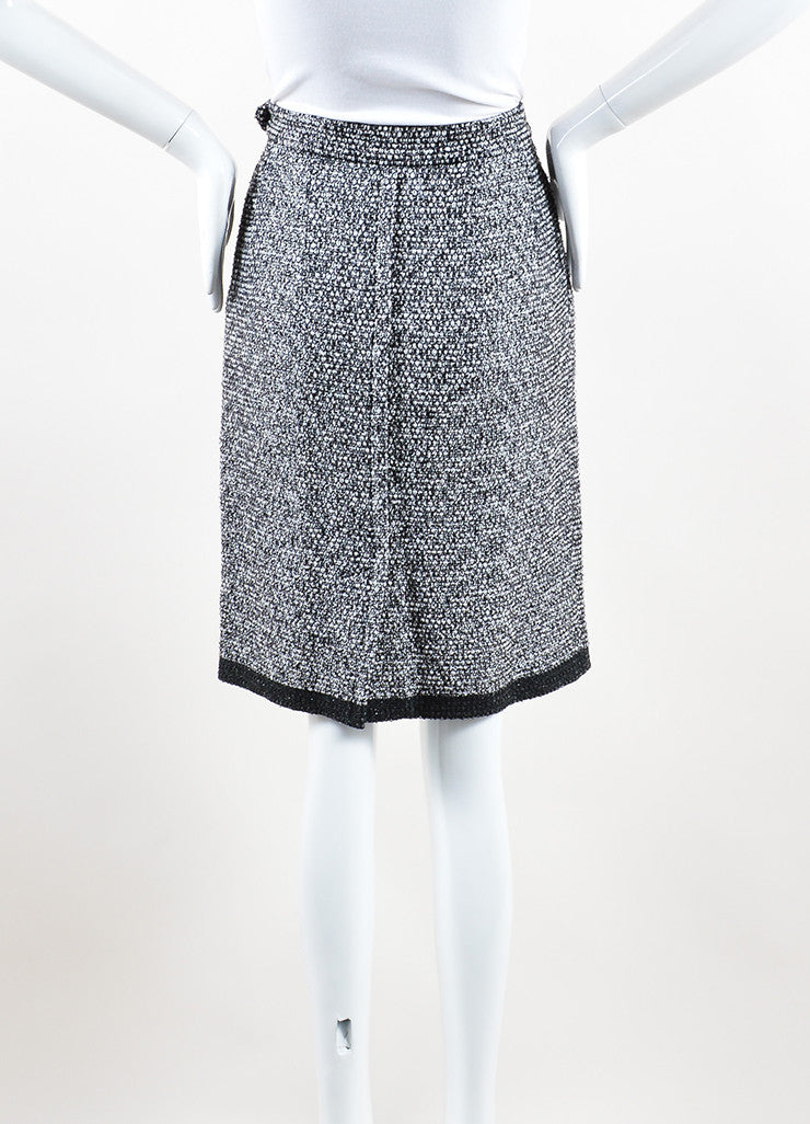 Yves Saint Laurent Black, White and Silver Toned Wool Tweed Pencil Skirt Back