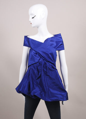 "Wes Gordon ""Lapis"" Blue Silk Taffeta Turban Draped Empire Top Frontview"