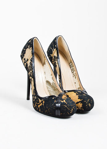 Black and Cream Alexander McQueen Lace Overlay Glossy Stiletto Pumps Frontview