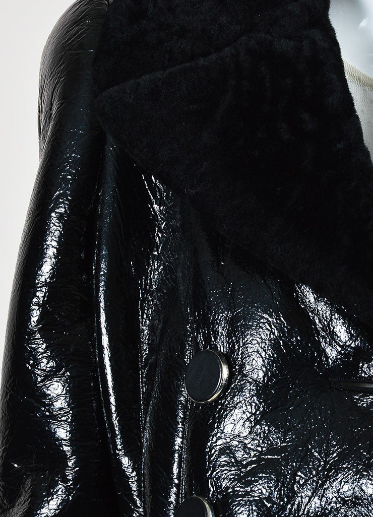 Black Alexander McQueen Cracked Patent Shearling Lined Coat  Detail
