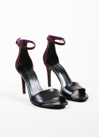 "Alexander Wang Black and Maroon Purple Suede Open Toe ""Carmen"" Sandals Frontview"