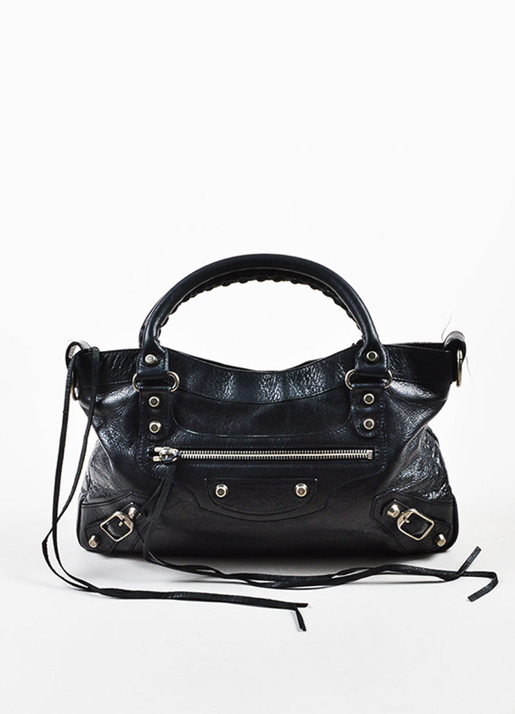 "Balenciaga Black Leather Silver Toned Hardware ""Classic First"" Shoulder Bag Frontview"