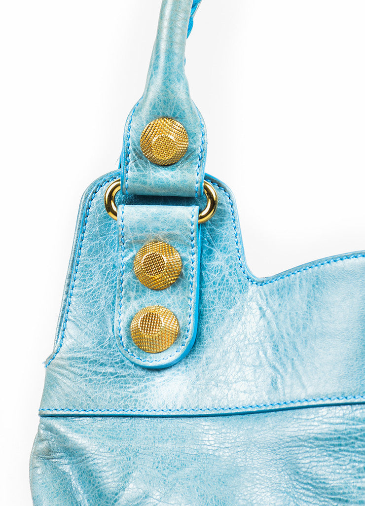 "Balenciaga Light Blue Leather Gold Toned Hardware ""Giant 21 Slim Hobo"" Handbag Detail 2"