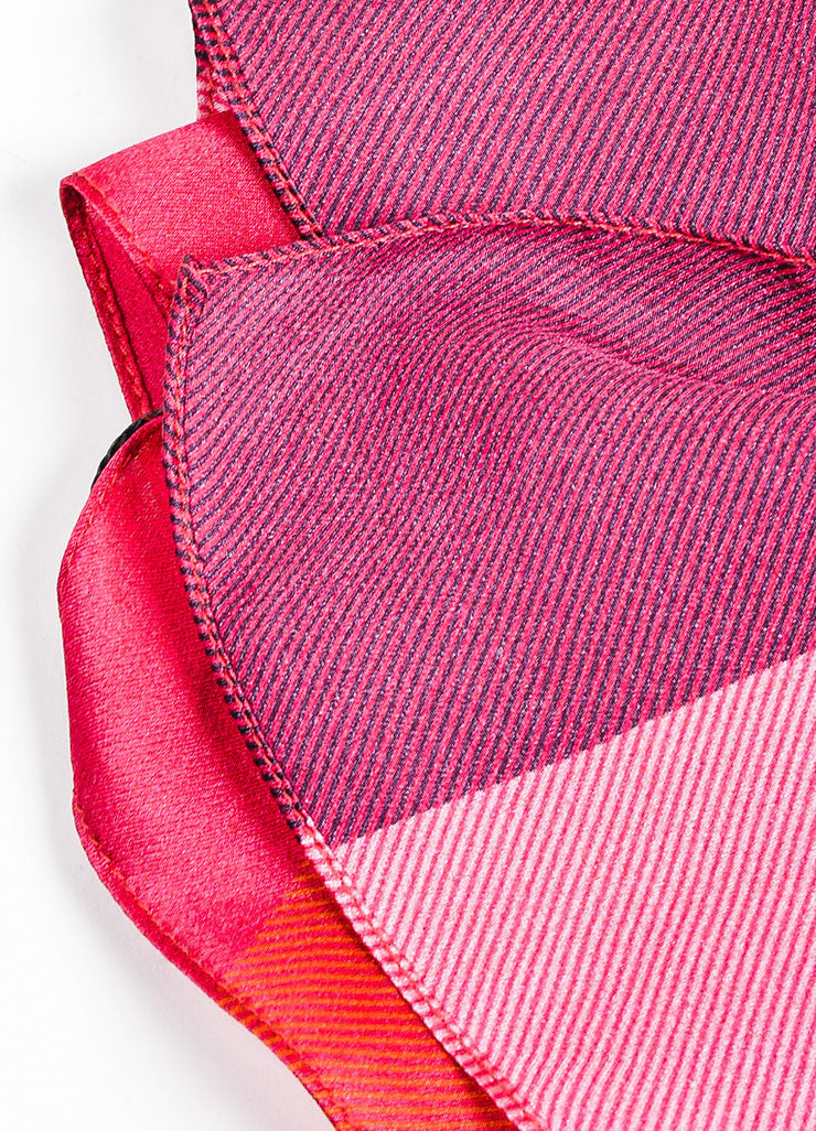 Pink, Black, and Orange Burberry Silk Check Print Scarf Detail