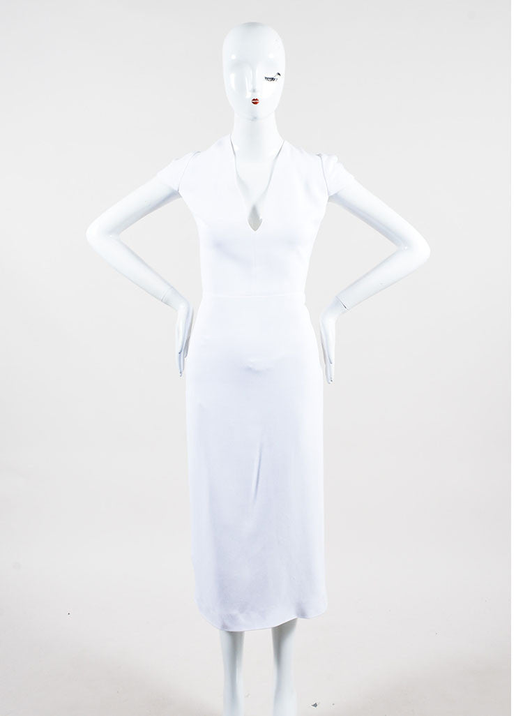 White Crepe Burberry Prorsum Jewel Embellished Crisscross Dress Frontview