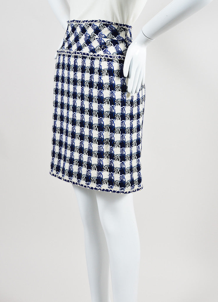 Cream, Blue, and Black Chanel Wool and Faux Pearl Checkered Pencil Skirt Sideview