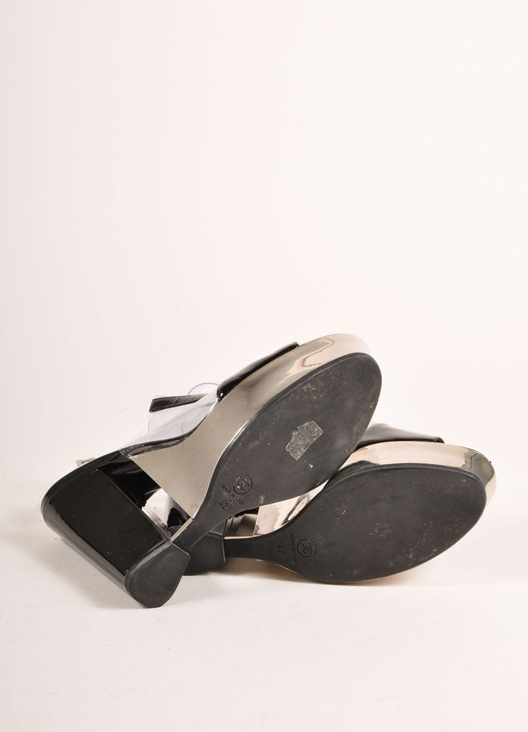 Chanel Black Patent Leather, Clear, and Silver Platform Sandals Outsoles