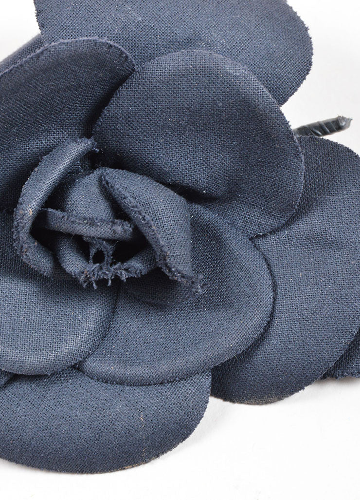 Chanel Black Woven Knit Camellia Flower Brooch Detail