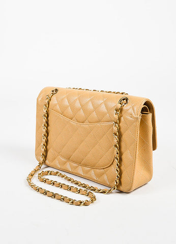 "Chanel Dark Beige Leather Quilted GHW ""Medium Classic Double Flap"" Shoulder Bag Sideview"