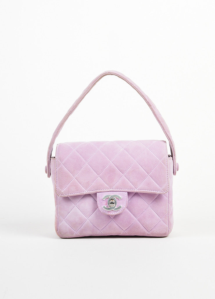 Lavender Purple Chanel Suede Quilted Turn Lock Mini Flap Purse Bag Frontview