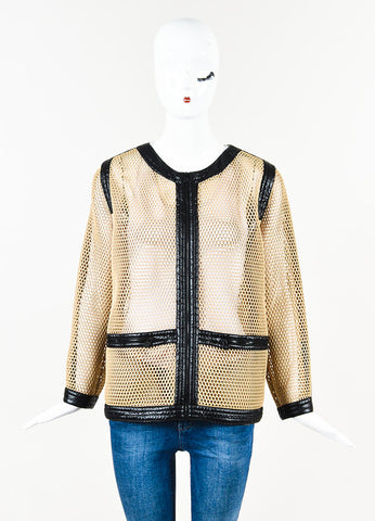 Chanel Tan & Black Mesh Contrast Trim Zip Up Long Sleeve Jacket Front