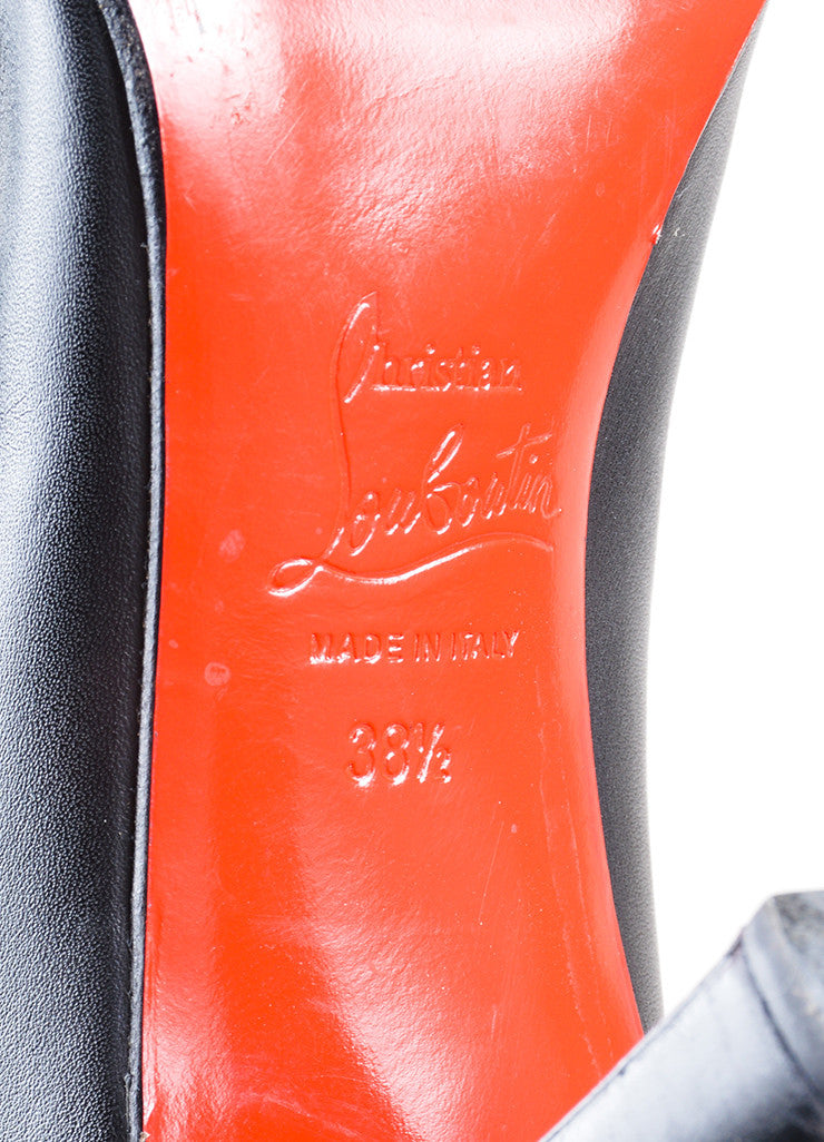 "Christian Louboutin ""Miss Tack Botta"" Black Leather Knee High Heel Boots Brand"