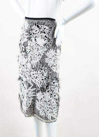 Erdem Black and White Tweed Floral Embroidered Fringe Pencil Skirt Sideview