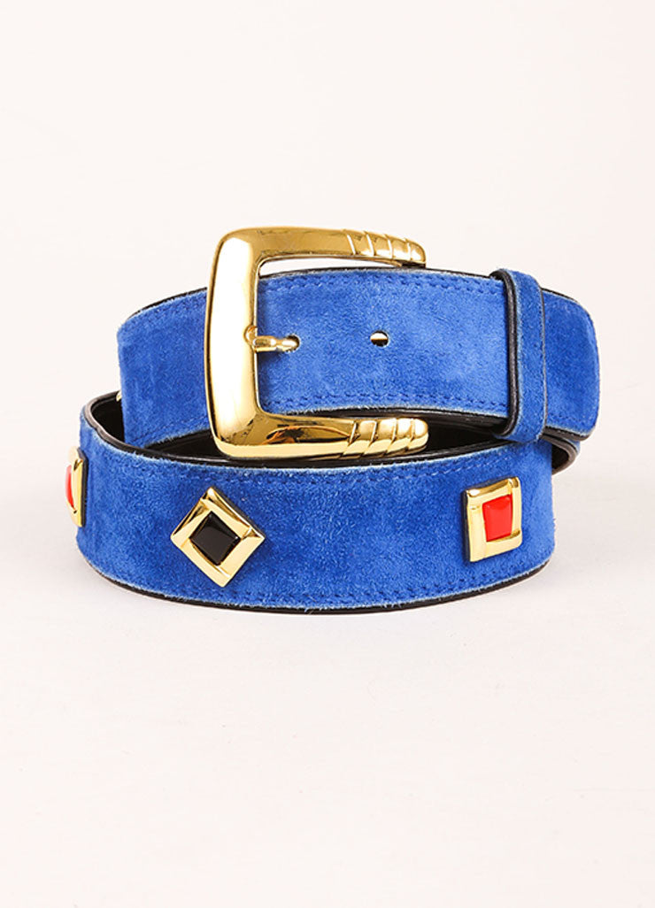 Escada Blue, Black, and Gold Toned Suede Geometric Embellished Belt Frontview