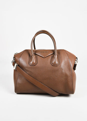 "Givenchy Brown Grained Leather ""Medium Antigona"" Satchel Bag Frontview"