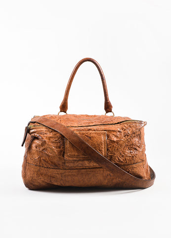 "Givenchy Brown and Gold Toned Sheepskin Distressed Leather ""Medium Pandora"" Bag Frontview"
