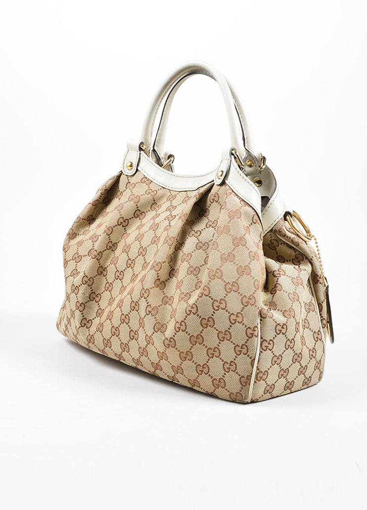 "Gucci Cream and Brown Canvas and Leather ""GG"" Monogram ""Guccissima"" Shoulder Bag Sideview"