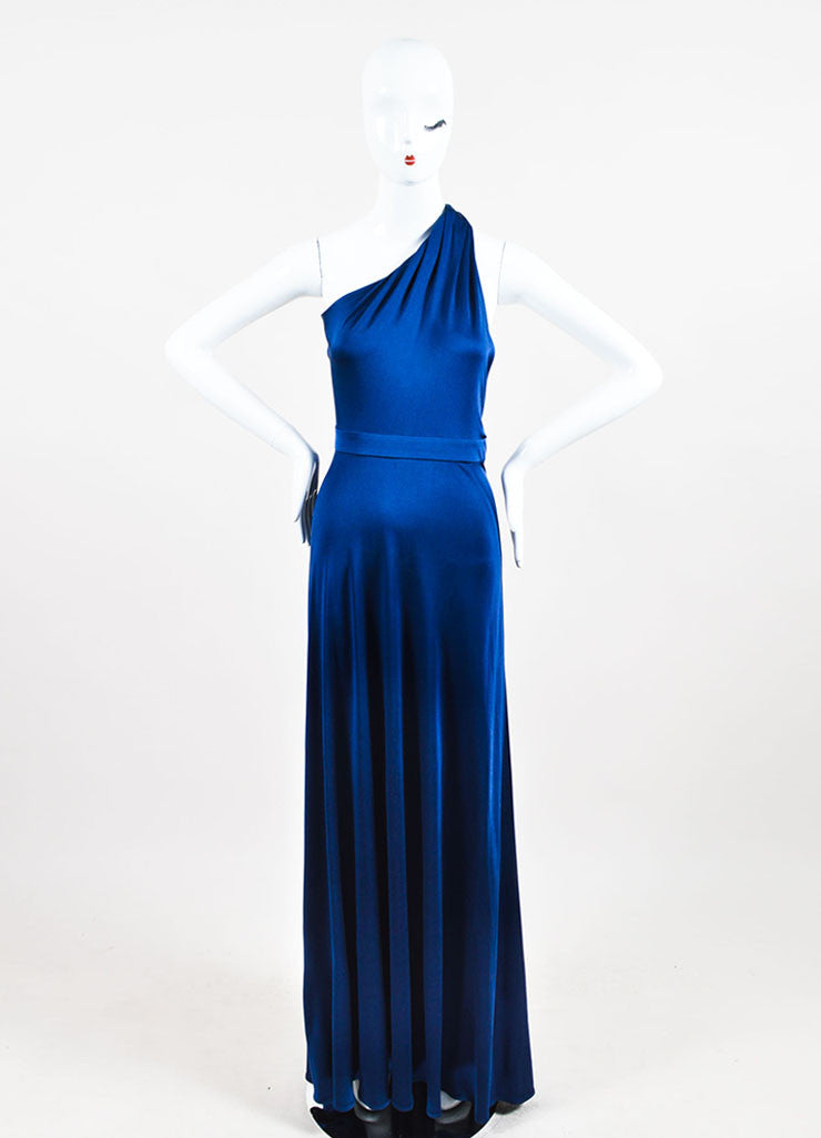 Blue Issa London Silk Jersey One Shoulder Maxi Dress Front