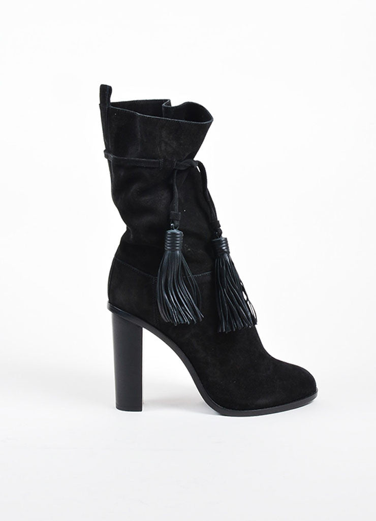 Black Lanvin Suede Tassel Tie Mid Calf Stacked Heel Boots Sideview