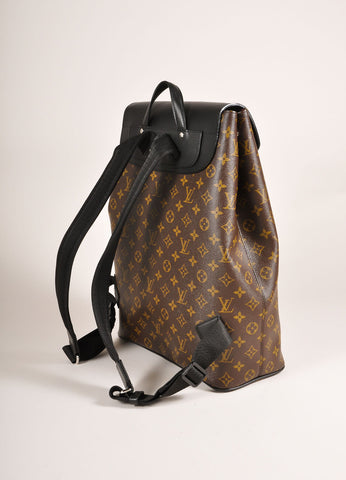 "Louis Vuitton Brown and Black Monogram Macassar Canvas and Leather ""Palk"" Backpack Sideview"