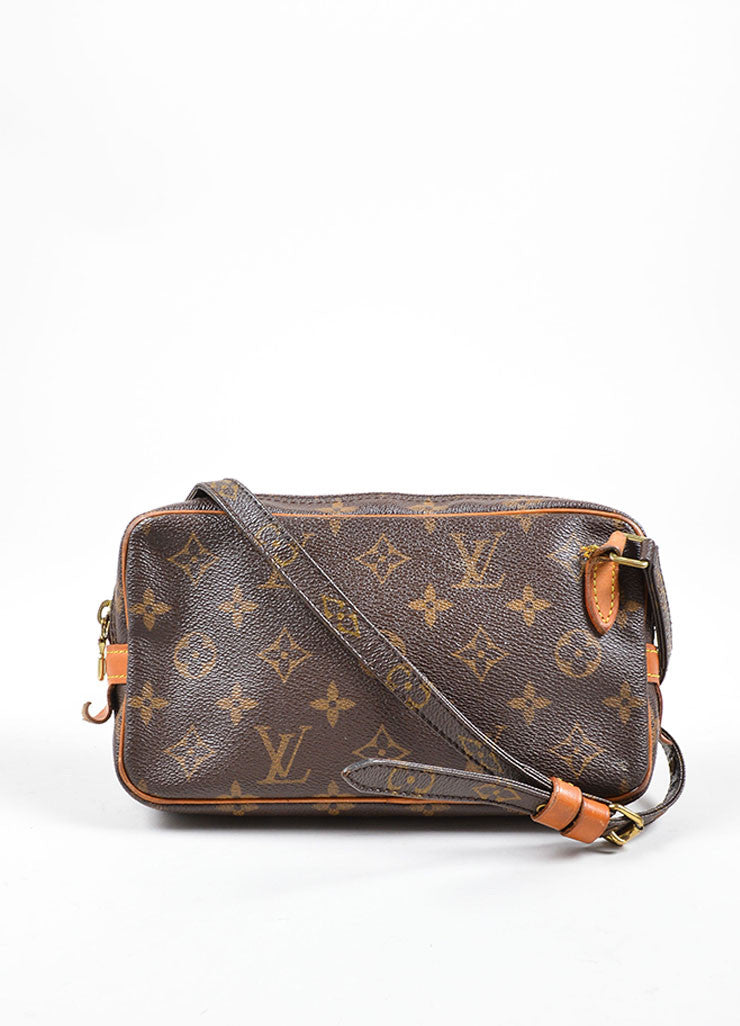 Louis Vuitton Brown Coated Canvas Leather Trim Cross Body Bag Frontview