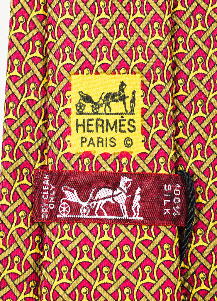Men's Hermes Burgundy Mustard Yellow Silk Horseshoe Print Necktie Brand