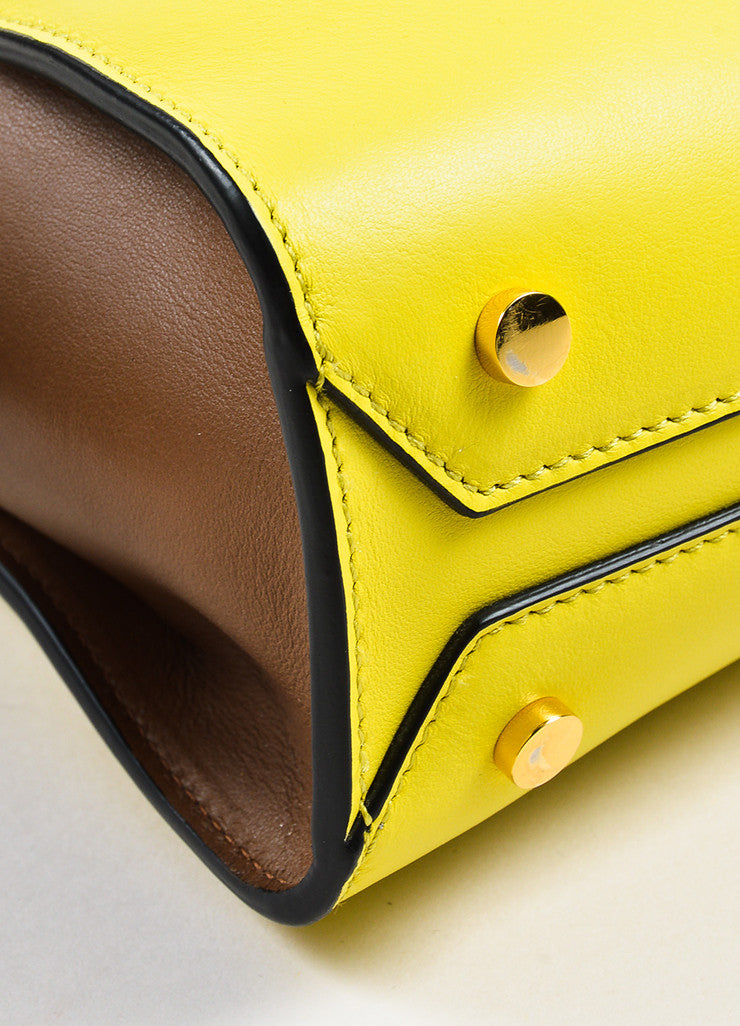 Yellow and Brown Marni Leather Color Block Tote Bag Detail 2