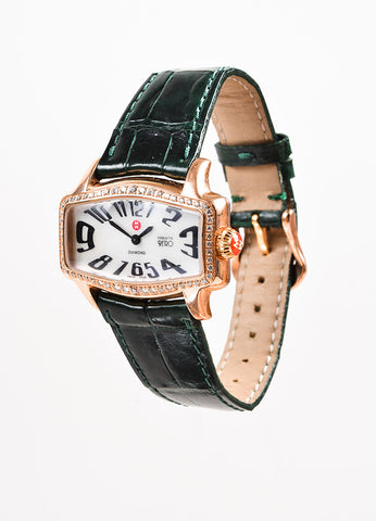 "Michele Rose Gold Toned Alligator Strap Diamond ""Coquette Retro"" Watch Sideview"