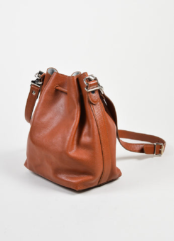 Rust Brown and Grey Proenza Schouler Leather Crossbody Bucket Bag with Pouch Sideview