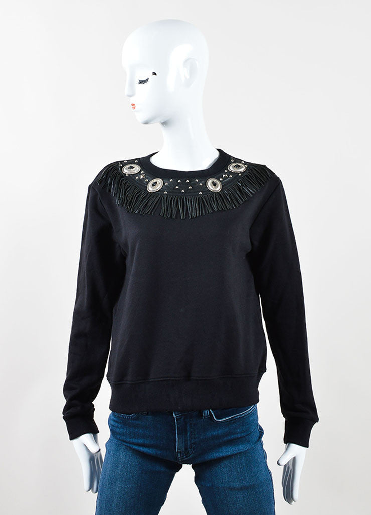 Saint Laurent Black Cotton and Leather Western Fringe Sweatshirt Frontview
