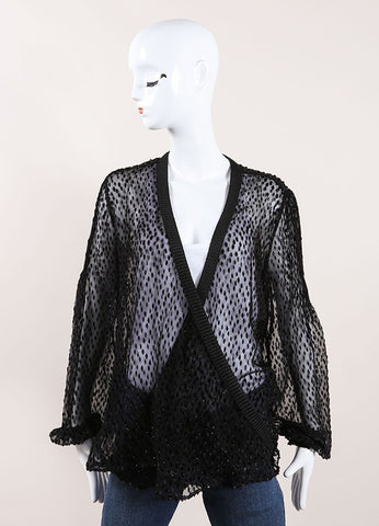 Salvatore Ferragamo Black Sheer Sparkly Wrap Top Front