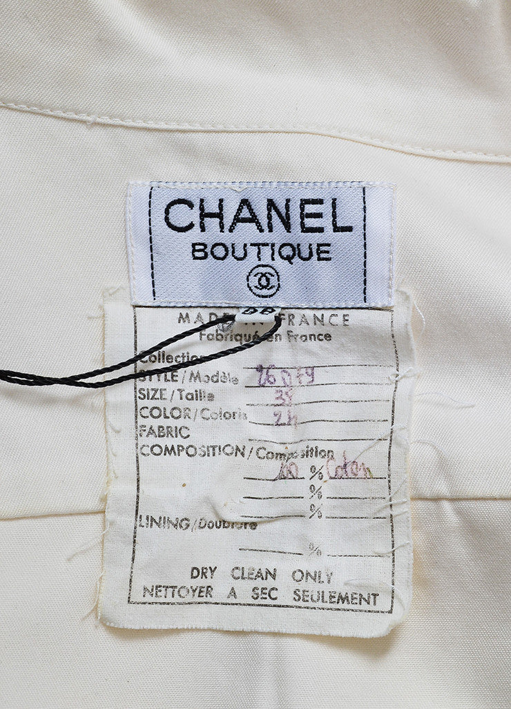 Cream and Black Chanel Gold Toned Camellia Button Long Sleeve Blouse Brand