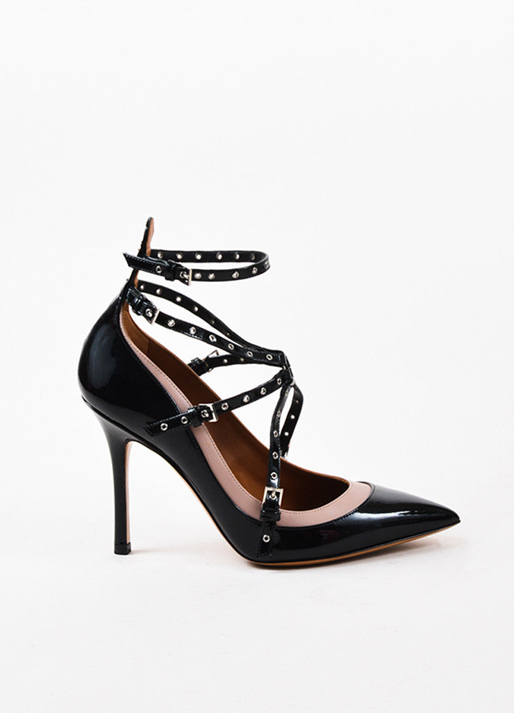 "Black & Nude Patent Leather Caged ""Love Latch"" Pumps Side"