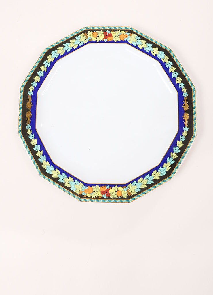 "Versace Rosenthal Blue and Green ""Le Roi Soleil"" 10.5 inch Dodecagaon Dinner Plate Frontview"