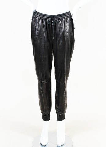 Vince Black Leather Drawstring Tie Jogger Pants Frontview
